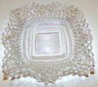 Vintage Candy Dish Square Ruffled Edge Clear Cut Diamond Point Indiana Glass