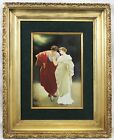 Large hand painted porcelain plaque signed KPM Framed