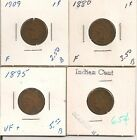 Lot of 7 Indian Head Cents Penny 1880,1882,1895,1903,1907,1909 in old 2x2s