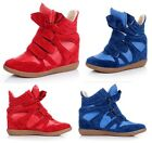 US6.5 Womens Hidden Wedge Boots Leather Velcro Strap High Top Sneaker shoes