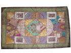 Bohemian Wall Hanging Brown Beaded Patchwork Tapestry Throw