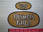 2 VINTAGE OLYMPIA GOLD RACING BEER BREWERY PATCH BADGE CREST EMBLEM