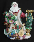 Fitz and Floyd Collector Christmas Wreath Teapot Rare Santa Ceramic Handpainted