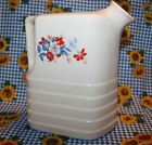 ANTIQUE UNIVERSAL CAMBRIDGE WATER PITCHER, CREAM WITH FLORAL PATTERN