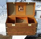 ANTIQUE  STEAMER TRUNK FRENCH DOME TOP CHEST RESTORED TRAY AND CEDAR BOTTOM