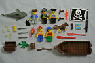 5 Lego Pirate Minifigures Boat Shark Weapons Monkey Treasure Accessories Lot