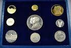 PAHLAVI EMPIRE OF IRAN RIAL SET 4X 900 GOLD COIN AND 5X .999 SILVER COIN IN BOX