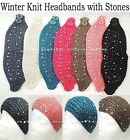 Woman's Winter Knit Head Wrap - Ski Headband -Rhinestone headband *US SELLER*