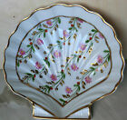 Limoge, shell shaped dish ~ hand painted and signed ~ Paul ~ gilt floral vines