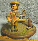 ANTIQUE ANRI HAND CARVED WOODEN FIGURINE MUSIC BOX DISPLAY CAROUSEL TOP ONLY