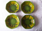* 4 RETRO SEQUOIA WARE BOWL CALIFORNIA POTTERY OCTAGONAL 750 B VTG GREEN ORANGE