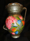 VTG Terra Cotta Red Clay Pottery Vase Hand Made & Painted Floral Motif 2 Handle