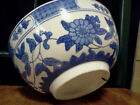 ANTIQUE Vintage PORCELAIN BOWL - Large BOWL - Blue and WHITE - DISH - PLANTER