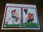 Fabric Panel Wall Hanging Best Friends Raggedy Ann Andy Riding Bicycle Balloons