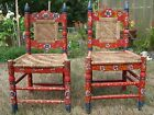 RARE Vintage Pair Mexican Folk Art Chairs Hand Carved Pinned & Painted