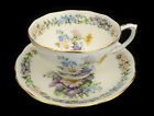 Bone Roslyn China GARLAND Tea Cup & Saucer Set Gold Trim FLoral Made In England