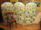 FOLK ART DUBIC HAITIAN PAINTING DOUBLE SIDED PAINTED FOLDING SCREEN 52