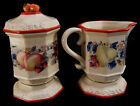 Avon Sweet Country Harvest Ceramic Ivory Fruits Creamer and Sugar Bowl