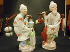 A Pair Vintage Asian Porcelain Older Man & Woman Farmer Peddler Figurines 14 1/2