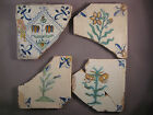 4 Antique Dutch Delft tiles flower 17th century - free shipping