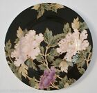 Fitz and Floyd Cloisonne Peony Accent Salad Plate Black Rim Japan China Side