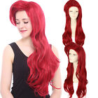 Red Little Mermaid Ariel Long Red Curly Wave Wavy Women Hair Cosplay Wigs Wig