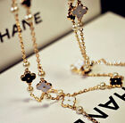 Gold Plated White and Black Clover and Pearls Long Necklace/Bracelet  N1009
