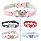 Rhinestone Heart Suede Leather Small Dog Cat Collars for Chihuahua XXS XS S