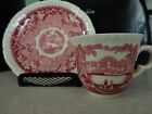 Mason's Vista from England, Cup & Saucer in Red & Pink, Patent Ironstone China