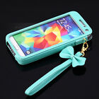 New BOW Chain Wristlet Strap Pouch Sleeve Leather Case  Samsung Galaxy S5 I9600