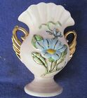 HULL ART Blue Magnolia Gloss Handled Vase H-6-6 1/2 Gold Accents