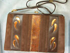 Jane Shilton, London, Brown suede, snakeskin, bronze designs vintage handbag