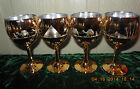 set of 12 SASAKI crystal glasses GOLD scenic Pyramids Camels 6 water 6 wine