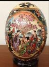 Antique Hand Painted Moriage Gold Gilt Porcelain Egg Japanese Geisha Flowers 6