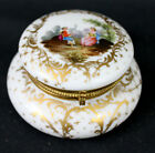 German Hand painted Porcelain Box blue crossed swords mark perfect cond. (5839)