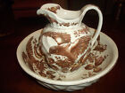 ANTIQUE WASH BOWL SET -BROWN/WHITE W/ EAGLE- Brown-Westhead, Moore