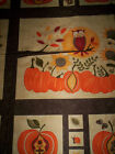 1 panel HELLO FALL Sandy Gervais Moda Fabrics Owl orange yellow brown pumpkins