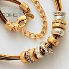 Chico's Signed Necklace Silver Gold Tone Inspiration Charms Leather Cords NWT