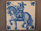 Antique Dutch Delft tile large horseman rare 19th century - free shipping