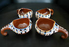 Vintage MEXICAN REDWARE DRIP GLAZE POTTERY Condiment Servers (or Cups?) Set of 4