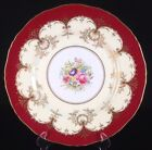 Royal Worcester Hand Painted Plate Floral Medallion Gilt Decoration Ivory/Wine