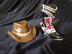 COWBOY HAT  BOOT CERAMIC SALT  PEPPER SHAKERS NEVER USED COLLECTIBLE