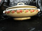 BURSLEM Vintage Lidded Serving bowl Porcelain Roses Gold Gilt Made in ENGLAND