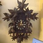 ANTIQUE BLACK FOREST CUCKOO CLOCK with CARVED PEARS GRAPES BIRD LEAVES
