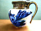 1850 - 1860 Doulton BurslemTiny Flow Blue Cream/Syrup Pitcher With Pewter Top