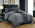20-PC NEW Gray Black Luxury Flocking Comforter Curtain Sheet Set Queen Size