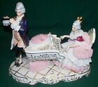 VINTAGE ANTIQUE DRESDEN PORCELAIN VICTORIAN MAN & WOMAN PLAYING PIANO & FLUTE