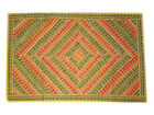 Yellow Embroidered Wall Hanging Vintage Sari Indian Tapestry