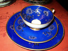 Vtg German Porcelain Cup Saucer Plate 3 Floral Blue Gold Kronach Germany