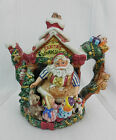 Fitz and Floyd Santa's Magic Workshop Teapot Santa Elves Toys Red Green Gold